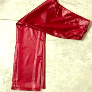 Glossy red pants!